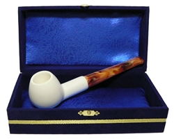 Standard Apple Smooth Straight Meerschaum Pipes with Velvet Chest