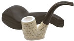 Hand Carved Sitting Oom Paul Round Lattice Block Meerschaum Pipe