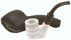 Deluxe Sitting Oom Paul Teardrop Lattice Block Meerschaum Pipe