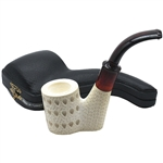 Oom Paul Sitting Lattice Block Meerschaum Pipe