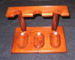 Wooden 3 Tobacco Pipe Rack Cherry Finish