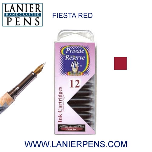 Private Reserve Fiesta Red 12 Pack Cartridge Fountain Pen Ink C09 - Lanier Pens