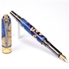 Art Deco Fountain Pen - Midnight Raven Burl End Cap