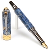 Art Deco Fountain Pen - Blue Maple Burl