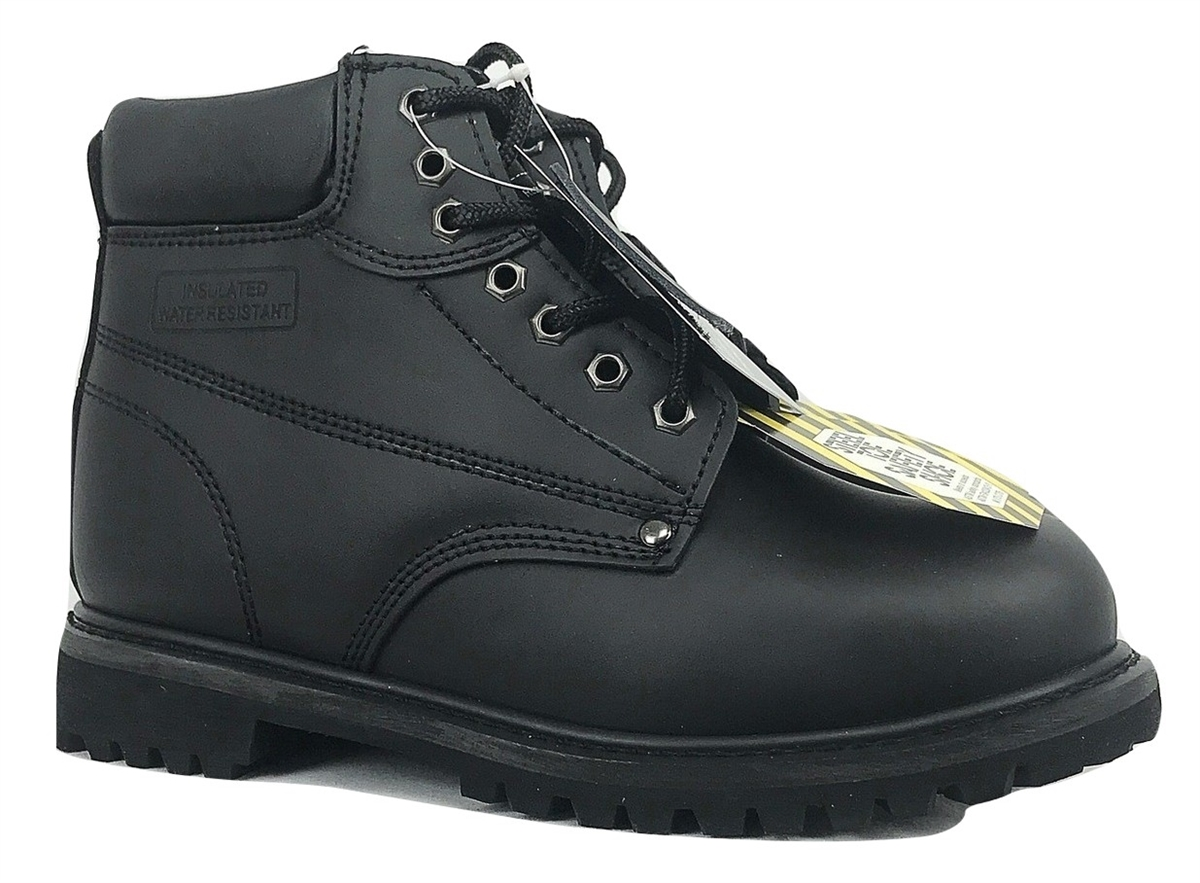 b3a2bebb3bf Men's Steel toe Genuine Leather Black Classic Padded Collar Style  Construction boots
