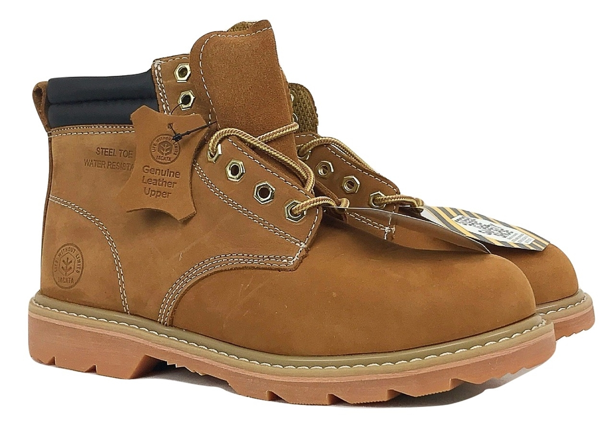 c9233184bd4 Jacata Brand Men's Steel toe Genuine Leather Wheat Classic Padded Collar  Style Construction boots