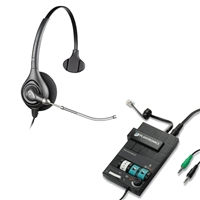 Plantronics HW251 SupraPlus Headset w/ Voice Tube - MX10 Multimedia Amplifier Bundle