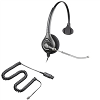 Plantronics HW251 SupraPlus Headset w/ Voice Tube - HIC Adapter Cable Bundle