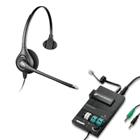 Plantronics HW251N SupraPlus Headset w/ Noise Canceling Mic - MX10 Multimedia Amplifier Bundle