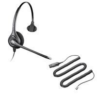 Plantronics HW251N SupraPlus Headset w/ Noise Canceling Mic - HIS Adapter Cable Bundle