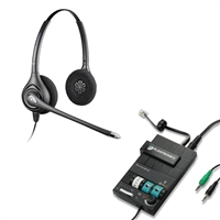 Plantronics HW261N SupraPlus Headset w/ Noise Canceling Mic - MX10 Multimedia Amplifier Bundle