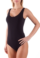 Black singlet bodysuit with wide straps; Smooth & soft fabric making it a comfortable wear