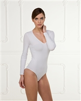 White long sleeve bodysuit with scoop neck; Smooth & soft fabric making it a comfortable wear