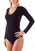 Black long sleeve bodysuit with scoop neck; Smooth & soft fabric making it a comfortable wear