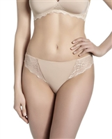 Nude tanga with lace side panelling and opaque microfibre front