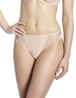 Nude bikini brief with lace detailing on band and scalloped side edges and opaque microfibre front