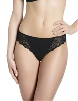 Black bikini brief with lace detailing on band and scalloped side edges and opaque microfibre front