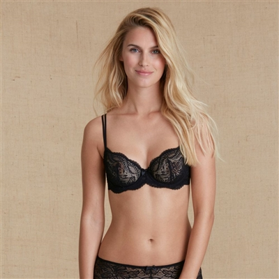 Black Lace Half Cup Bra with Underwire featuring scalloped lace trim that extends slightly over the cups, creating a play of transparency and opacity.