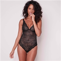 Black lace bodysuit with all lace triangle cups and scalloped edges around the thighs