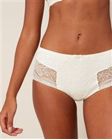 Ivory Lace Culotte featuring side lace detailing with a slight scalloped edge and bow on centre front