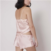 Blush coloured premium silk night short by designer Simone Perele
