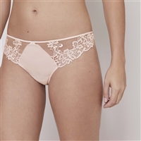 Blush coloured thong with guipure and lace embroidered front panels