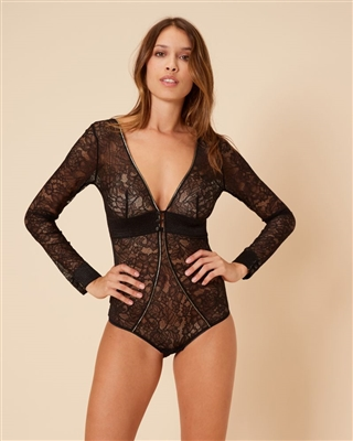 Black lace bodysuit with gold threading highlights and plunging neckline