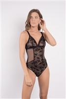 Black floral lace paired with mesh fabric bodysuit with v-neckline