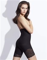 Black high waist shaping short that sits under the bust to mid thigh