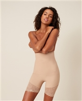 Nude high waist shaping short that sits under the bust to mid thigh