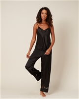 Black Silk Night Pant with Lace Detail on the bottom