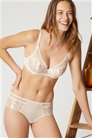 Ivory underwire and embroidered voile bra, encasing cups for added comfort
