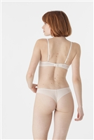Ivory tulle tanga brief with embroidered lace panels on side