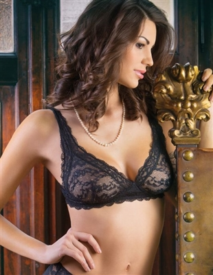 Soft cup lace triangle bra without underwire pictured in black