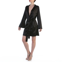 Black elegant kimono style robe made of pure silk