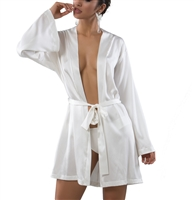 Cream elegant kimono style robe made of pure silk