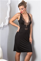 Premium black sleeveless nightdress complimented with gorgeous lace detail on front and back also featuring low cut front and lace detail on back