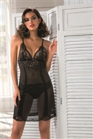 Lace tulle chemise featuring a v-neck front and double shoulder straps pictured in black