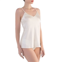 Premium pure silk camisole with v-neck and thin shoulder straps