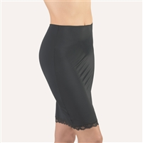 Black half slip that sits above the knee made from a soft microfibre fabric and featuring a leavers lace hem