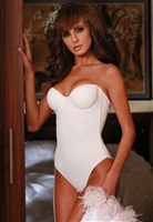 Strapless bodysuit made from a soft microfibre fabric featuring a low back, underwire cups and side boning for shaping and smoothing