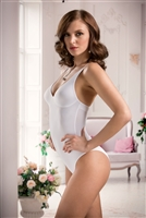Soft and smooth white microfibre shaping bodysuit with adjustable shoulder straps