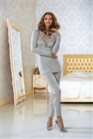 Light grey long sleeve pyjama top with lace front and satin detail on neck and cuffs . Matching light grey fitted pyjama pants.