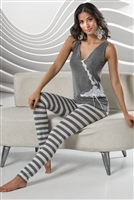 Dark Grey Sleeveless PJ Top with white lace detail and Dark Grey and Light Grey Stripe PJ Leggings