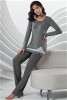 Grey long sleeve pyjama top with white lace and button detail. Matching grey pyjama pants.