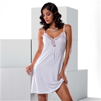 Sleeveless nightdress complimented with gorgeous lace detail on the neckline and sits above the knees