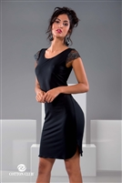 Black short sleeve nightdress complimented with gorgeous lace detail on sleeves and side slits at hem