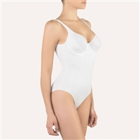 High quality white bodysuit made from a soft microfiber fabric featuring a smooth & shaping design with underwire cups