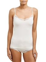 V-neck soft microfibre camisole with adjustable straps and trimmed with lace