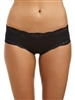 Black microfibre french hipster brief trimmed with lace